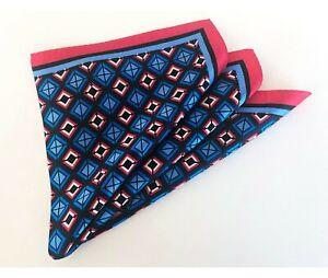 PURE SILK SATIN Men's Suit Pocket Square Scarf Handkerchief Geometric Blue Pink