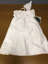 New LITTLE THINGS MEAN A LOT 6M 6 Months White CHRISTENING Dress Gown Bonnet NWT