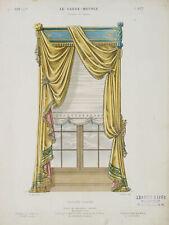 LAROCHE, Glasfenster mit Draperie, Croisée drapée, 19. Jhd, handkol. Litho.