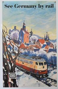 Original Vintage German Railway Travel Poster - See Germany by rail - 1966