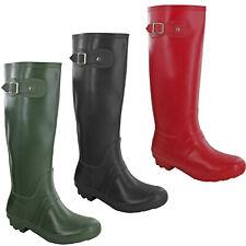Womens Wellington Boots Buckle Slim Fit Tall Mid Calf Rain Soft Comfort UK 3-8