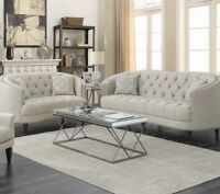 Modern Traditional Living Room 2-Piece Sofa Loveseat Couch Set Gray Fabric