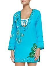 LETARTE Deep U Pullover Cover-up Dress Embroidered Butterfly Size S NWT $278