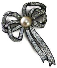 Victorian 3.21ct Rose Cut Diamond Pearl Ladies Wedding Brooch Pin