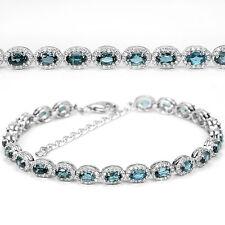 Armband, 925 Sterling Silber, Natural 5x3mm Blautopas & Weiß Zirkonia, Neu