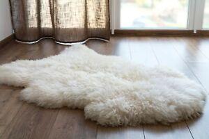 Sheepskin Rug Genuine Ivory Real Luxury British Throw Eco Pelt Large 100cm+