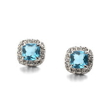 GORGEOUS 18K WHITE GOLD PLATED TURQUOISE CZ & AUSTRIAN CRYSTAL STUD EARRINGS