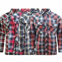 Mens Padded Work Wear Flannel Thick Fleece Lined Buffalo Shirt Jacket Work M-6XL