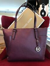 NWT MICHAEL KORS LEATHER THE NEW JET SET LARGE EW TOP ZIP TOTE BAG IN PLUM