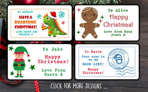 24 Personalised Christmas Stickers for Gifts Boxes Happy Xmas Labels Tags