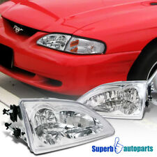 1994-1998 Ford Mustang Crystal Crystal Headlights Head Lamps Chrome