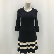 Hobbs Silk Cashmere Blend Knit Dress UK 16 Black Stripe Smart Fit Flare 283561