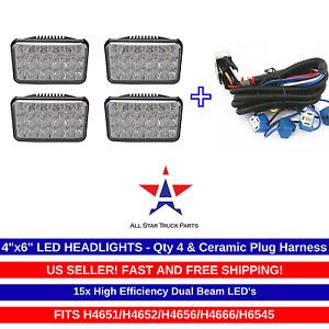 "4 - 4x6"" 15 LED Headlights & Ceramic Plug Harness H4656/4651 High/Low Beam 45W"