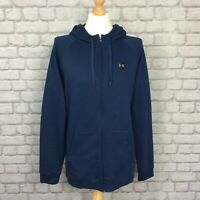 UNDER ARMOUR MENS UK XL BLUE RIVAL FLEECE FULL ZIP HOODED TOP HOODIE HOODY CS