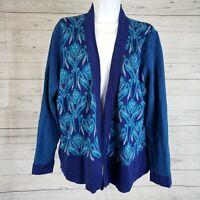 Coldwater Creek Womens Cardigan Sz 1X Blue Floral Open Front Silk Cotton Blend