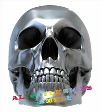 SHINY SILVER LOOK SKULL, MOTORBIKE DECAL, CAR DECAL, , STICKER, 120mm High