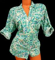 Sonoma green blue floral 3/4 sleeves pockets stretch buttoned down top 1X