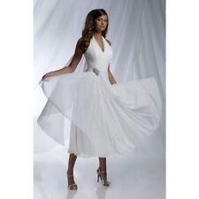 Tea Length V-Neck A-line Halter Wedding Dresses Short Chiffon Bridal Gown Custom