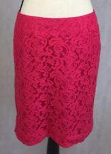 "Merona Women's Size 8 Pink Pencil Skirt Lace Overlay Lined w/Zipper 18 1/2"" Long"