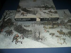Springbok Puzzle Winter Landscape 500 Pc Lucas Van Valckenborch 1970 - Complete!