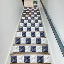 13pcs Black And White Square Self-adhesive Staircase Decor Sticker Removable