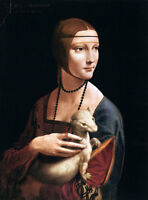 "Lady With The Ermine by Leonardo Da Vinci - Oil Painting Reproduction, 24"" x 36"""