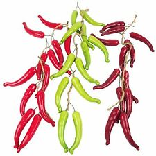 Garland of 12 Artificial Hanging Chillis!  Fruit Vegetables Fake