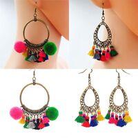 Women Boho Style Vintage Bronze Dream Catcher Tassel Dangle Drop Pompom Earrings