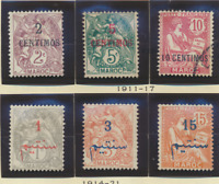 French Morocco Stamps Scott #12//38, Mint Hinged, 10 Different, 2 Used