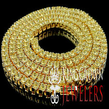 ICED OUT YELLOW GOLD FINISH CANARY DIAMOND SIMULATED 1 ROW TENNIS CHAIN NECKLACE