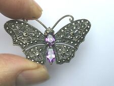 Preowned Silver Marcasite & Amethyst Butterfly brooch, very distinctive