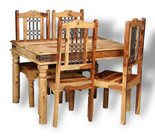 JALI LIGHT SHEESHAM FURNITURE 120CM DINING TABLE AND 4 JALI CHAIRS (J40L)