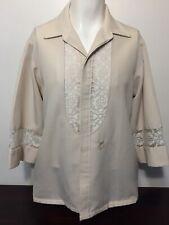 Vintage 70s Iolani Beau Tiki Hawaiian Wedding Shirt Large Beige Lace 3/4 Sleeves
