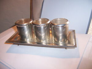 Vintage Spice Container set on tray Silver etched with glass lids 3 on tray.