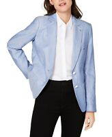 Tommy Hilfiger Women's Blazer White Blue Size 2 Dot-Print Two-Button $129 #164