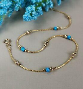 ANKLET fire dark blue OPAL 14k Gold Chain  Ankle Bracelet Birthstone October
