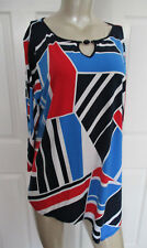 $56 Alfred Dunner America's Cup Blouse Asymmetircal 3/4 Cut Out Sleeve Women's L