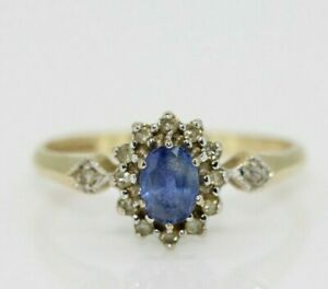 9ct Yellow Gold Sapphire & Diamond Cluster Ring Size O, US 7