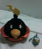 "5"" Angry Birds Black Bird Rovio Licensed Stuffed Plush Toy with sound & Keychain"