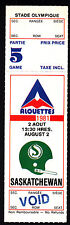 Montreal Alouettes vs Saskatchewan Roughriders Aug 2 1981 Unissued Void Ticket