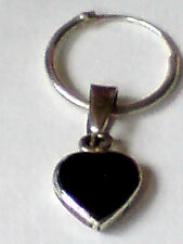 STERLING SILVER HOOP EARRING WITH 8mm.BLACK ONYX HEART SHAPED PENDANT £8.50 NWT