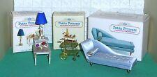 VINTAGE MINI'S PETITE PRINCESS LOT BLUE CHAISE TABLE TEA CART, LAMP, BOXES 1964