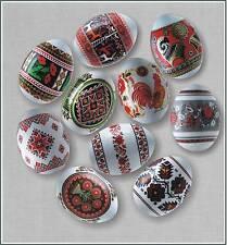 10 Ukrainian Pysanky,Wooden Wrapped in Plastic Shrink Sleave Easter Eggs,HenSize