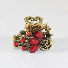 Brand New Gold Tone Peacock Vintage Hair Clip Claw w/Red and Garnet Red Crystals