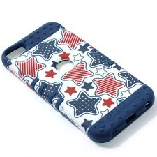 For iPod Touch 5th & 6th Gen - HARD&SOFT RUBBER HYBRID CASE COVER BLUE RED STARS