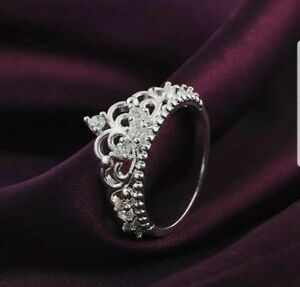 New sapphire crystal,rhinestone Silver colou princess crown Ring Size M.Love UK