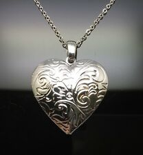 Silver Heart Locket Pendant Necklace 18ct White Gold GP Tarnish Resistant Photo