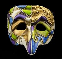 Maschera Di Venezia Polichinelle Blu Mauve Verde Dorata Naso Carta IN Luxe 22351