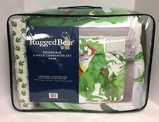 New Rugged Bear Twin size Dinosaur 5 Piece T-Rex Green Comforter Sheet +Sham Set