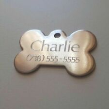 Pet Tags Bone (4.0cm) ID Stainless Steel 2 Side Diamond Engrave Dog Cat Name Tag